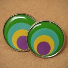 Velké náušnice pecky - Circles žlutozelené