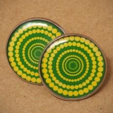Velké náušnice pecky - Vertigo zelenožluté