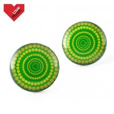 Náušnice pecky - Vertigo žlutozelené