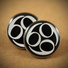 Velké náušnice pecky Metal -  Black 666