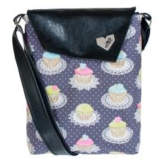 Černá taška Dafné -  Šedé muffiny