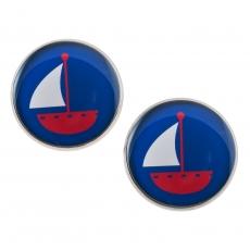 Velké náušnice pecky námořnické -  plachetnice modrá