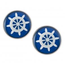 Velké náušnice pecky námořnické -  kormidlo modré