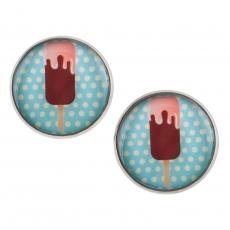 Velké náušnice pecky Sweet -  Nanuk modrý puntík
