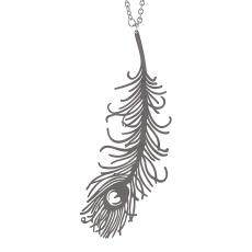 Ocelový náhrdelník dlouhý - Paví pero