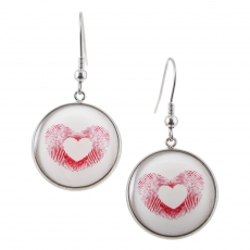 Kulaté náušnice - Love - Heartprint