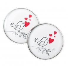 Velké náušnice pecky - Love - Birdie