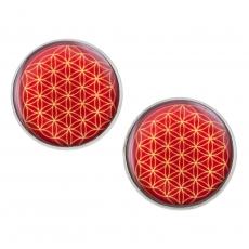 Velké náušnice pecky -  Květ života - červený