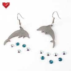 Ocelové náušnice - Delfíni