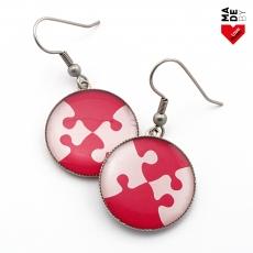 Kulaté Náušnice - Puzzle Růžovobílé