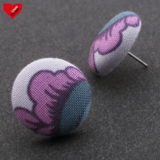Buttonkové náušnice -  fialovozelené květy