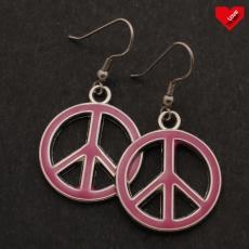 Peace náušnice - Tmavě růžové