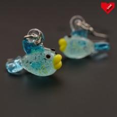3D náušnice - Svítící rybičky světle modré