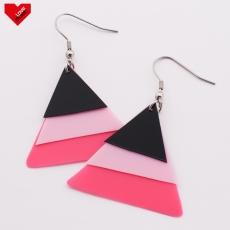 Náušnice Plastic  Trigon - růžové černé
