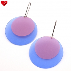 Náušnice Plastic Circles - modrorůžové poloprůhledné