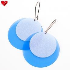 Náušnice Plastic Circles Snow - modré