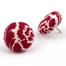 Buttonkové náušnice -  Červenobílý dekor