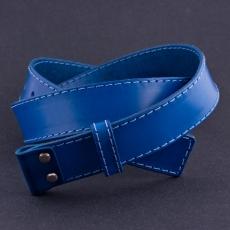 Kožený opaskový popruh -  modrý / 4cm
