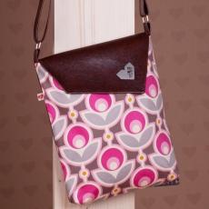 Hnědá taška Dafné - Pink retro