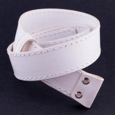 Kožený opaskový popruh -  bílý / 4cm