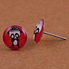 Náušnice pecky -  Klubko černočervenobílé