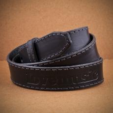 Kožený opaskový popruh -  černý / 3cm