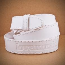 Kožený opaskový popruh -  bílý / 3cm