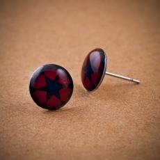Náušnice pecky -  Silvia tmavě modrá červená
