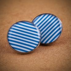 Velké náušnice pecky -  Pruhy modrobílé