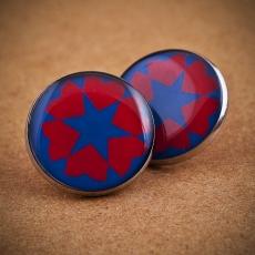 Velké náušnice pecky -  Silvia modrá červená