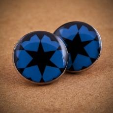Velké náušnice pecky -  Silvia černá a modrá