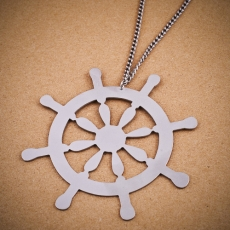 Ocelový náhrdelník dlouhý - Kormidlo
