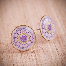 Náušnice pecky - Mandala  fialová