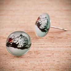 Náušnice pecky -  Labuť