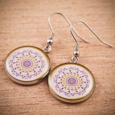 Kulaté náušnice - Mandala fialová