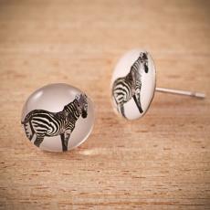 Náušnice pecky -  Zebra