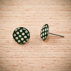 Náušnice pecky -  Puntík tmavě zelený