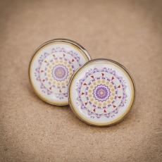 Velké náušnice pecky -  Mandala fialová