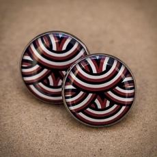 Velké náušnice pecky -  Klubko černočervenobílé